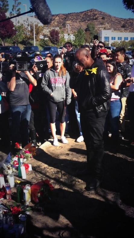 Tyrese mourns the loss of his fallen brother at the site of the crash.