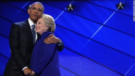 Source: CNN, President Obama hugs Hillary Clinton at the democratic convention, July 27, 2016